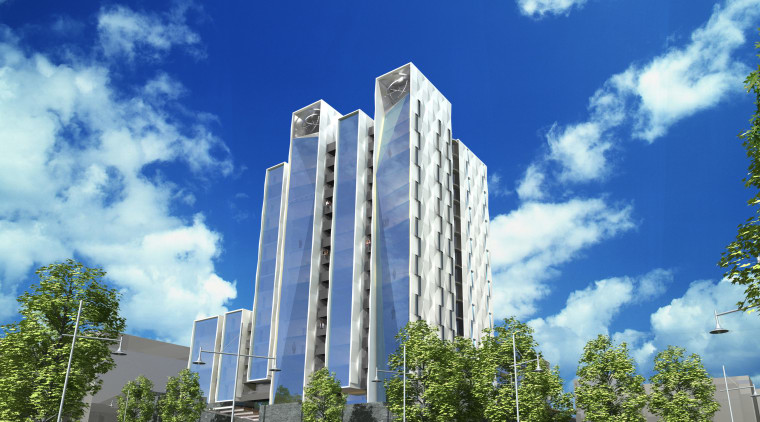 View of concept designs of the Air apartments architecture, building, city, cloud, commercial building, condominium, corporate headquarters, daytime, facade, headquarters, landmark, metropolis, metropolitan area, mixed use, neighbourhood, real estate, residential area, sky, skyscraper, tower, tower block, tree, blue