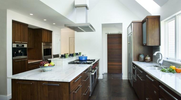 View of a kitchen which features white quartzite cabinetry, countertop, cuisine classique, interior design, kitchen, real estate, room, white, brown