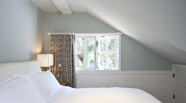 Bedroom with windows overlooking the gardens architecture, bed, bed frame, bedroom, ceiling, daylighting, floor, home, house, interior design, property, real estate, room, wall, window, gray, white