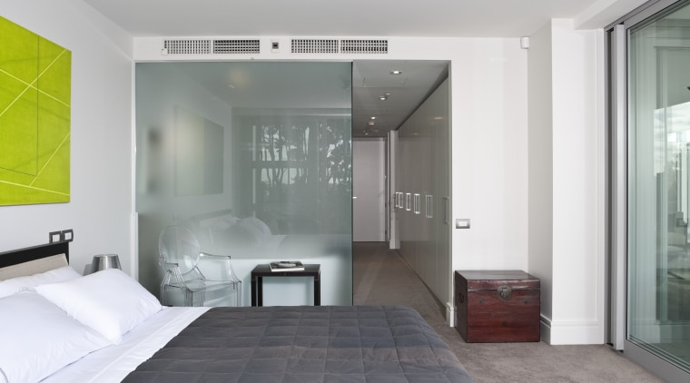 The bedroom and bathroom in the master suite architecture, floor, interior design, room, wall, gray, white