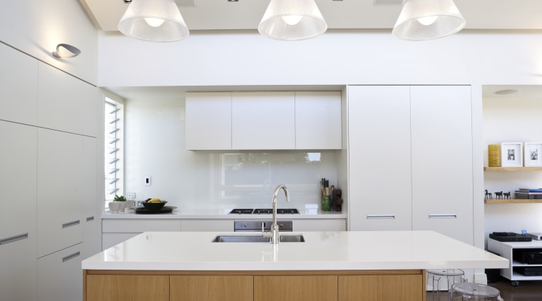 A kitchen interior designed by Anna Welsh MDINZ, ceiling, countertop, interior design, kitchen, product design, white