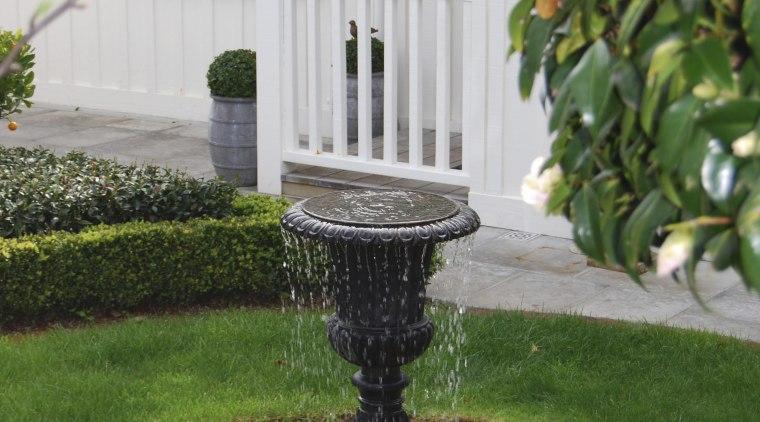 View of formal garden designed by Michael Mansvelt bird bath, garden, grass, landscaping, outdoor structure, walkway, water, water feature, yard, green, gray