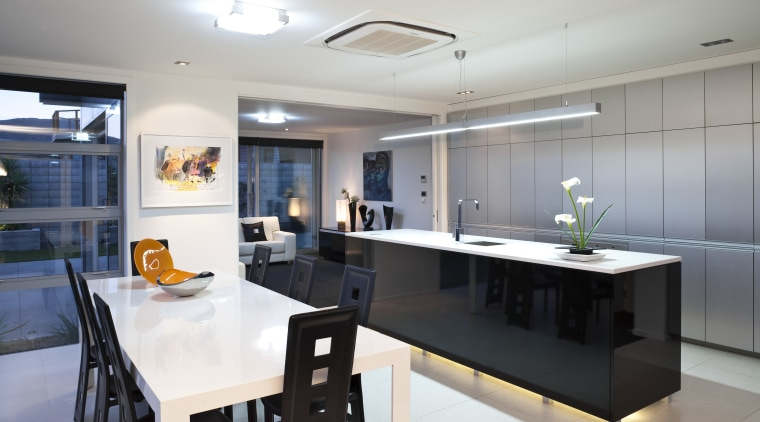 View of kitchen featuring Aluminium and gloss lacquer countertop, interior design, kitchen, real estate, room, white, gray