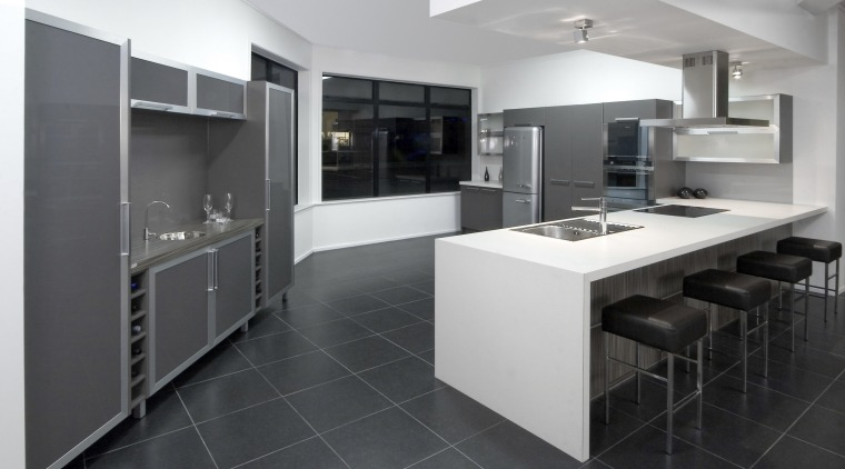 See before you buy Pridex Kitchens provides 3D cabinetry, countertop, cuisine classique, floor, flooring, interior design, interior designer, kitchen, product design, room, tile, gray, black