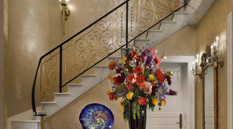Luxury Stairway featuring accessories & furniture ceiling, dining room, floristry, flower, home, interior design, lobby, room, wall, brown, gray