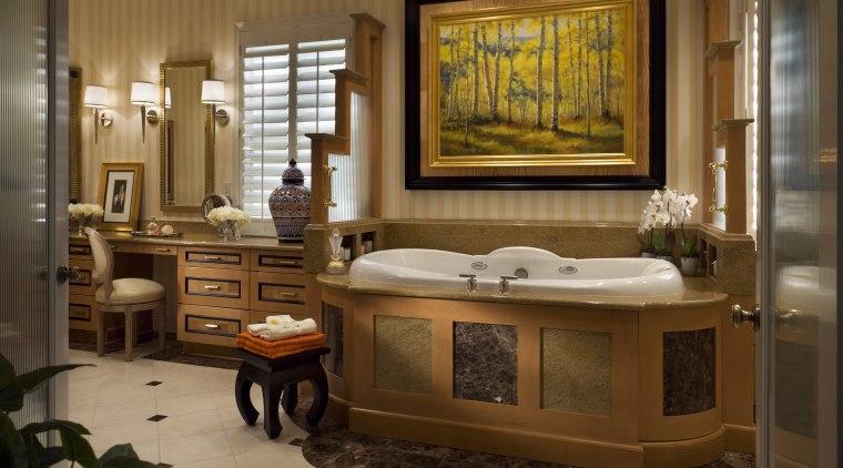 Large bathroom with bathtub & vanity cabinet bathroom, interior design, room, brown