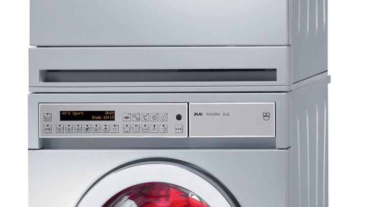The company that pioneered home appliance technology in clothes dryer, home appliance, laundry, major appliance, product, product design, washing machine, white, gray