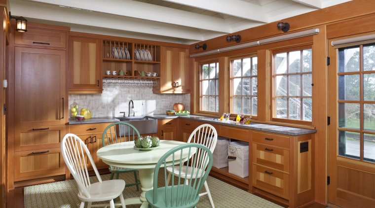 Traditional kitchen featured inside this little boathouse project cabinetry, countertop, cuisine classique, home, interior design, kitchen, real estate, room, window, brown, gray