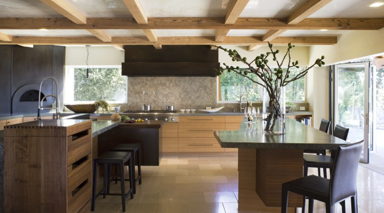 Ranch-style kitchen by Applegate Tran Interiors cabinetry, ceiling, countertop, cuisine classique, flooring, hardwood, interior design, kitchen, real estate, room, brown