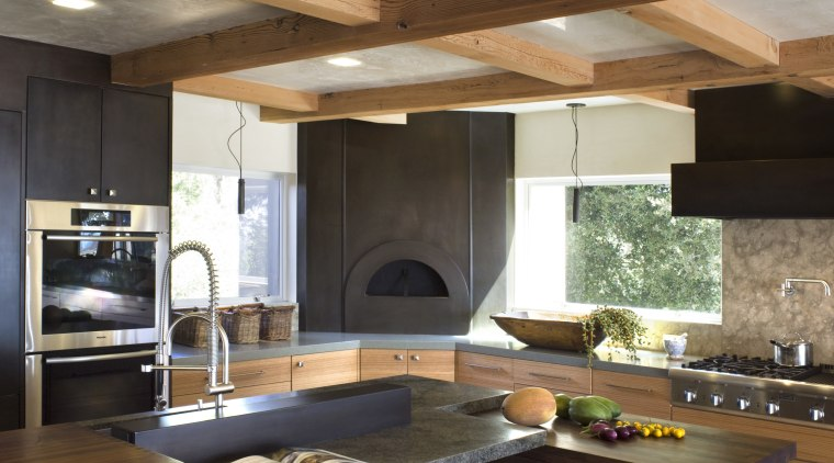 Ranch-style kitchen by Applegate Tran Interiors architecture, cabinetry, ceiling, countertop, cuisine classique, interior design, kitchen, brown