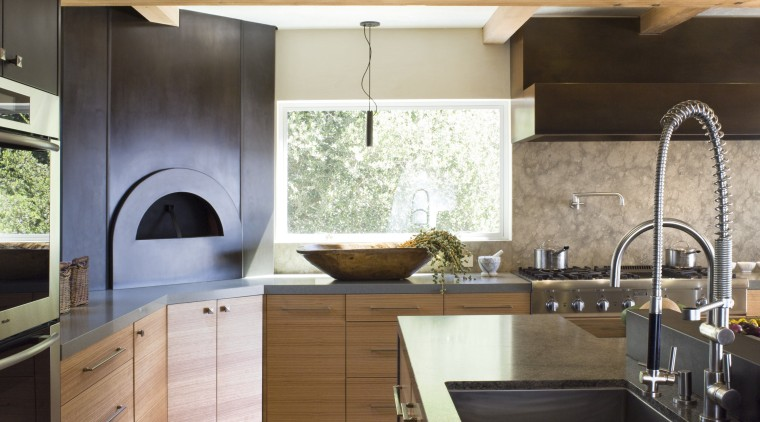 Ranch-style kitchen by Applegate Tran Interiors cabinetry, ceiling, countertop, cuisine classique, flooring, interior design, kitchen, real estate, gray, brown