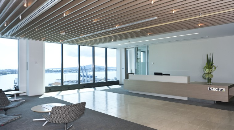 View of the new Deloitte premises which reflect architecture, ceiling, daylighting, floor, flooring, house, interior design, lobby, real estate, window, gray