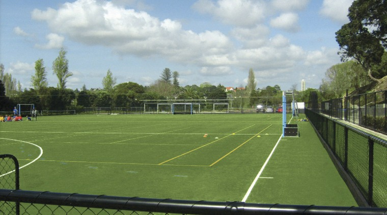 Exterior view of the St Kents' sporting facility area, artificial turf, ball game, grass, land lot, net, plant, sport venue, sports, structure, team sport, green