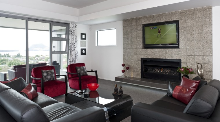 View of the lounge of a home built home, interior design, living room, property, real estate, room, window, white, black