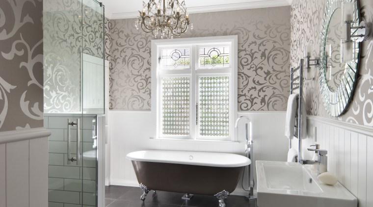 View of bathroom in a 1930s bungalow designed bathroom, floor, home, interior design, room, tile, wall, window, gray