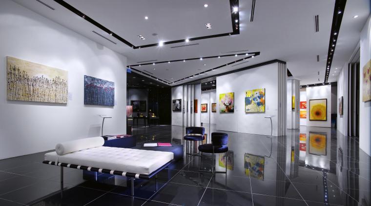 Interior view of the Art Gallery by Designworx, exhibition, interior design, gray, black