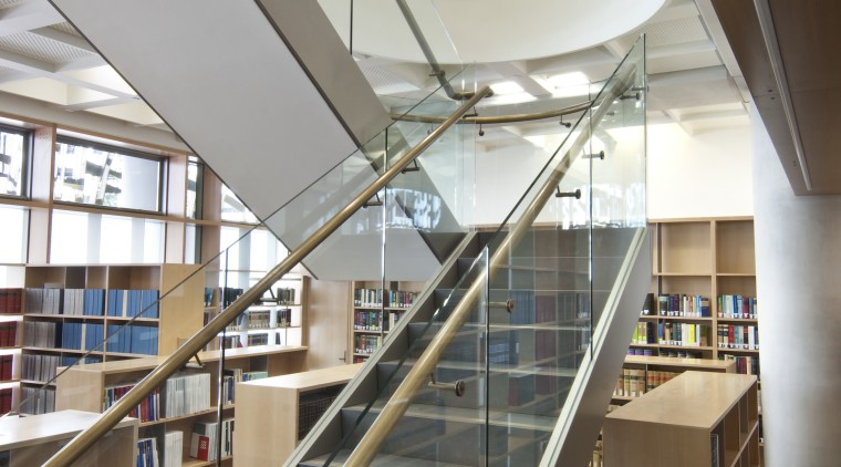 Supreme Court of New Zealand, Wellington - Supreme architecture, building, daylighting, glass, handrail, institution, interior design, library, public library, stairs, structure, gray, brown