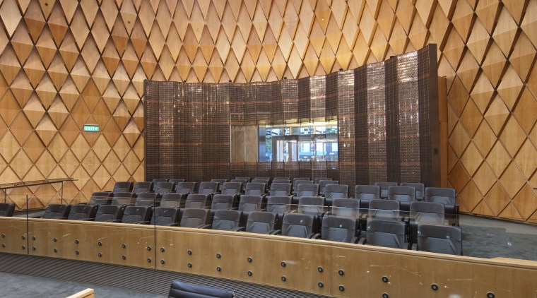 Supreme Court of New Zealand, Wellington architecture, auditorium, daylighting, performing arts center, theatre, wall, wood, brown, orange