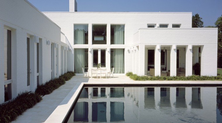 View of the pool side area architecture, building, estate, facade, home, house, mansion, official residence, property, real estate, swimming pool, villa, window, gray