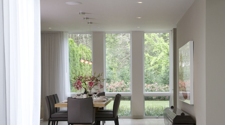 Interior view of the dining area architecture, ceiling, daylighting, floor, flooring, house, interior design, living room, room, window, gray
