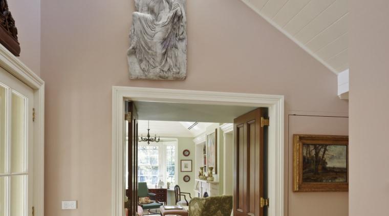 Interior view of traditional home ceiling, daylighting, door, estate, floor, flooring, hardwood, home, house, interior design, living room, molding, property, real estate, room, wall, window, gray