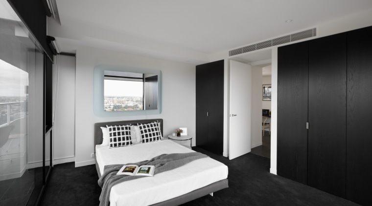 View of this contemporary apartment architecture, bedroom, ceiling, house, interior design, real estate, room, suite, gray, black