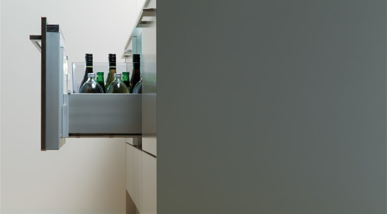 View of kitchen which features Fisher & Paykel's furniture, product design, shelf, shelving, gray