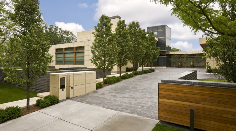 View of house with solid horizontal elements contrasted architecture, backyard, estate, facade, home, house, neighbourhood, property, real estate, residential area, brown, gray