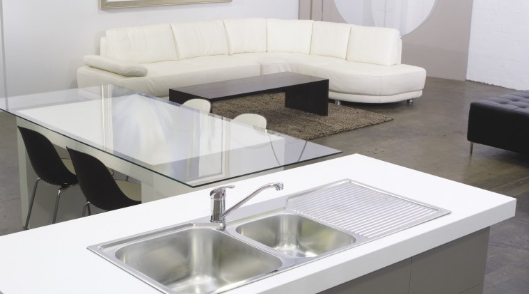 View of this sink and faucet within contemporary angle, bathroom sink, coffee table, floor, furniture, interior design, product, product design, sink, table, tap, white, gray