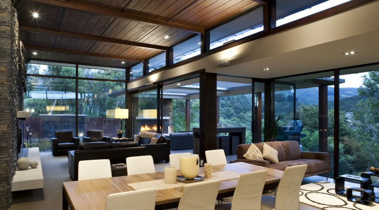 View of living space and dining area which interior design, living room, real estate, window, black
