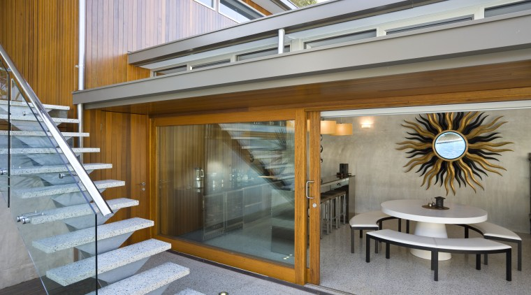 View of the stairway that leads to the architecture, daylighting, house, interior design, real estate, window, gray