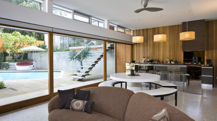 View of the poolside living area architecture, ceiling, house, interior design, living room, real estate, window, gray, brown