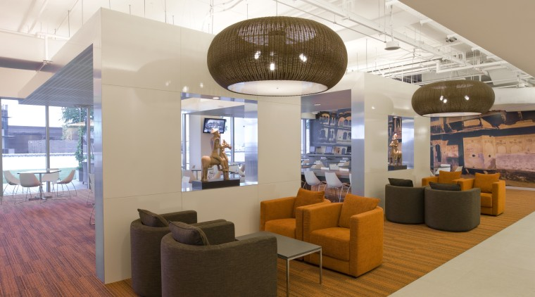 Standard Chartered Bank, Changi Business Park, Singapore ceiling, interior design, lobby, white, brown