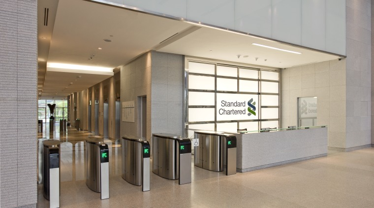 Standard Chartered Bank, Changi Business Park, Singapore daylighting, floor, flooring, interior design, lobby, gray