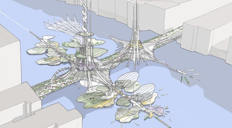 London Bridge Conceptual architecture, design, line, product design, structure, tree, urban design, white, teal