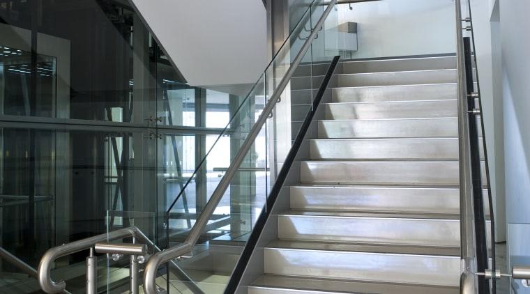 Ferrari Showroom in Australia architecture, building, daylighting, glass, handrail, stairs, structure, gray