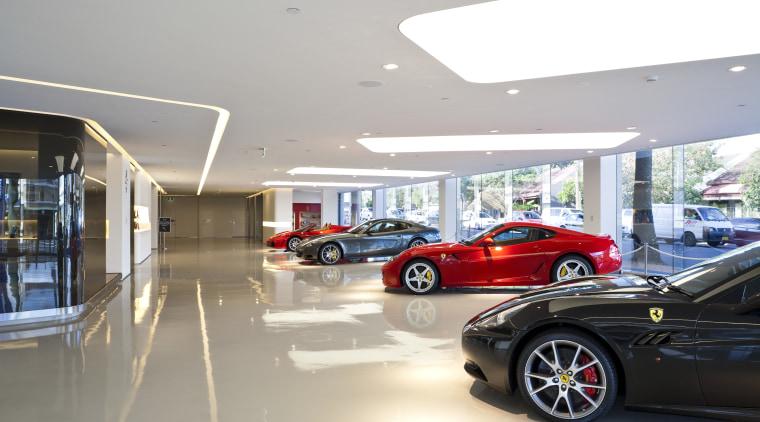 Ferrari Showroom automotive design, building, car, car dealership, luxury vehicle, motor vehicle, personal luxury car, sports car, vehicle, white, gray