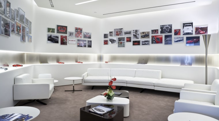 Ferrari Showroom in Australia furniture, interior design, living room, product design, white, gray