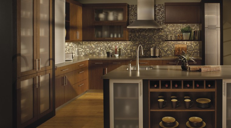 View of modern kitchen accessories in this traditional cabinetry, countertop, cuisine classique, interior design, kitchen, under cabinet lighting, brown, black