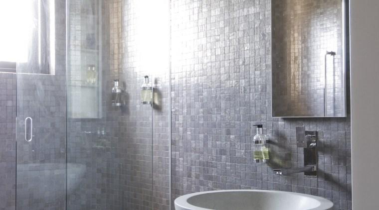 View of bathroom architecture, bathroom, bathroom accessory, ceiling, floor, interior design, plumbing fixture, room, sink, tile, wall, gray