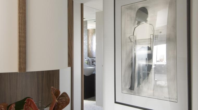 View of hallway with artwork door, floor, home, interior design, real estate, room, window, gray
