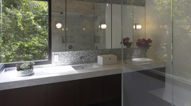 Interior view of a contemporary bathroom bathroom, countertop, glass, interior design, property, room, sink, black, gray