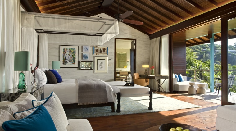 View of Four Seasons Seychelles high-end resort ceiling, estate, interior design, living room, property, real estate, resort, room, gray