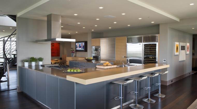 View of contemporary condominium kitchen which features aluminium cabinetry, ceiling, countertop, interior design, kitchen, real estate, gray