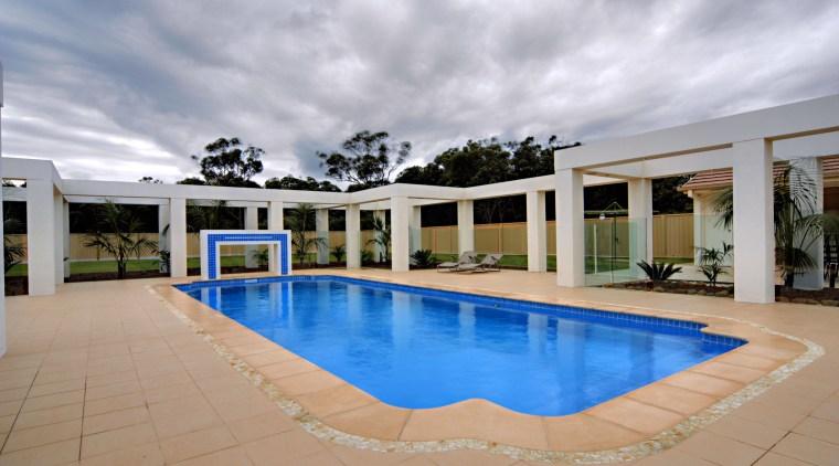 Exterior view of unique contemporary pool & patio estate, hacienda, home, house, leisure, property, real estate, resort, swimming pool, villa, gray, orange