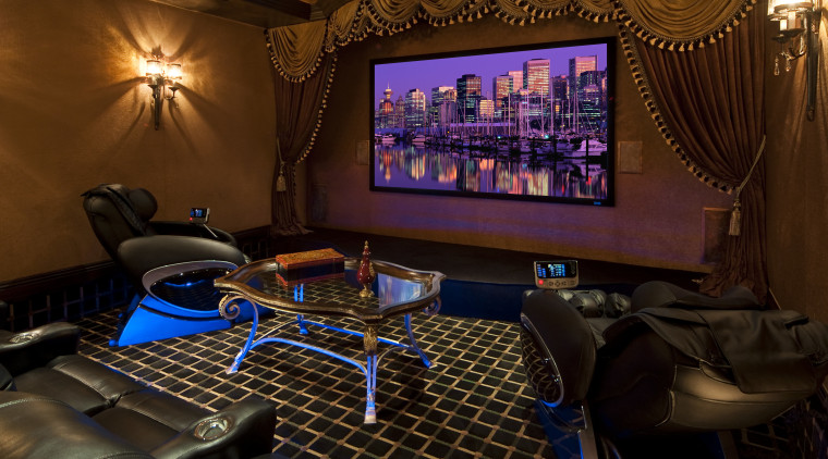 Home Theatre with checkered floor and drapes. entertainment, home, interior design, room, red