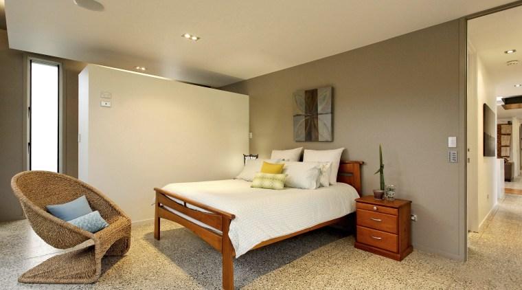 View of contemporary bedroom bedroom, ceiling, floor, interior design, real estate, room, suite, orange, brown