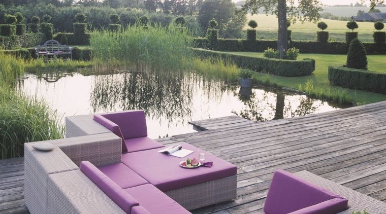 View of the outdoor patio backyard, furniture, outdoor furniture, sunlounger, table, gray, white