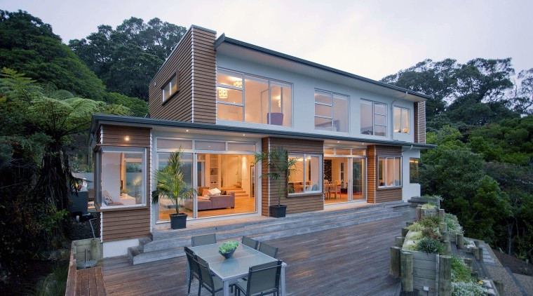 Exterior view of the decking area architecture, cottage, elevation, facade, home, house, property, real estate, roof, siding