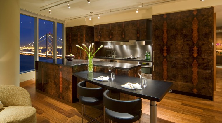 Interior view of this modern remodeled home countertop, interior design, kitchen, real estate, room, brown